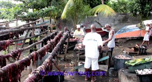 Persons involved in various activities surrounding the processing of whale meat and oil in Barrouallie on Sunday. (IWN photo)