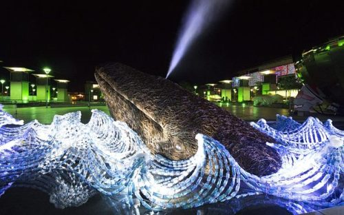 The Bristol Whales sculpture at night REX FEATURES