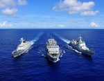 Three Chinese vessels—the missile destroyer Haikou, missile frigate Yueyang, and supply ship Qiandaohu—participate in the 2014 Rim of the Pacific Exercise. Photo by Hu Kaibing/Xinhua Press/Corbis