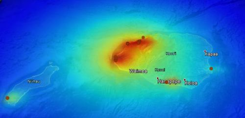 This graphic shows the amount of electromagnetic radiation and where it is concentrated on Kauai